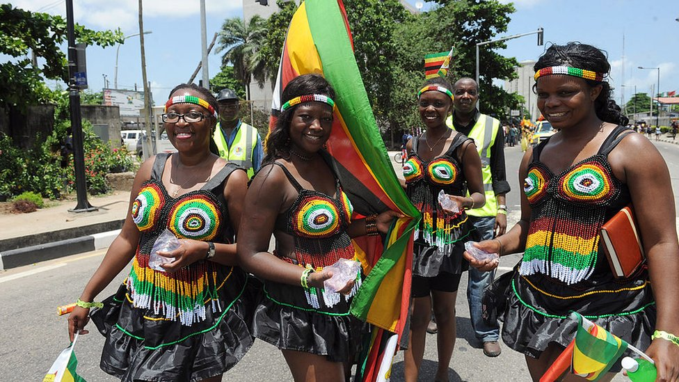 Zimbabwean contingent parade during the yearly Lagos carnival in April 1, 2013