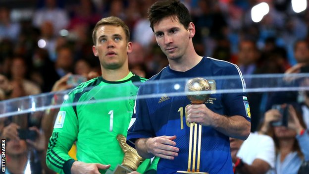 Lionel Messi with the World Cup golden ball