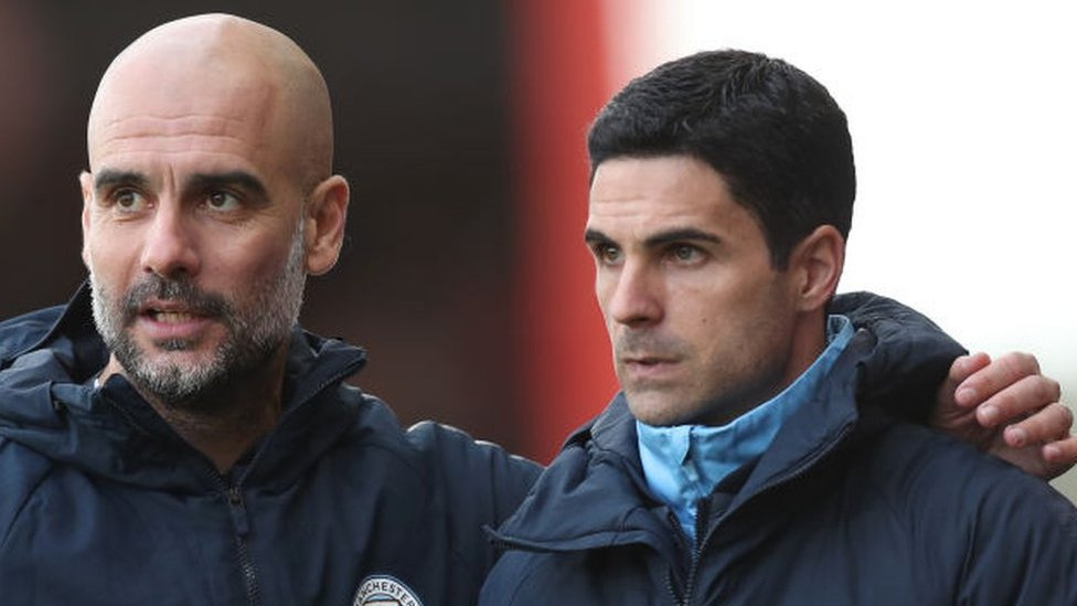 Manchester City manager Pep Guardiola with Arsenal's Mikel Arteta, then his assistant