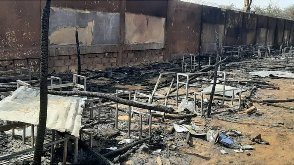 Picture of classroom wey completely destroy for di fire