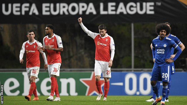 Paulinho celebrates scoring for Sporting Braga against Leicester in the Europa League
