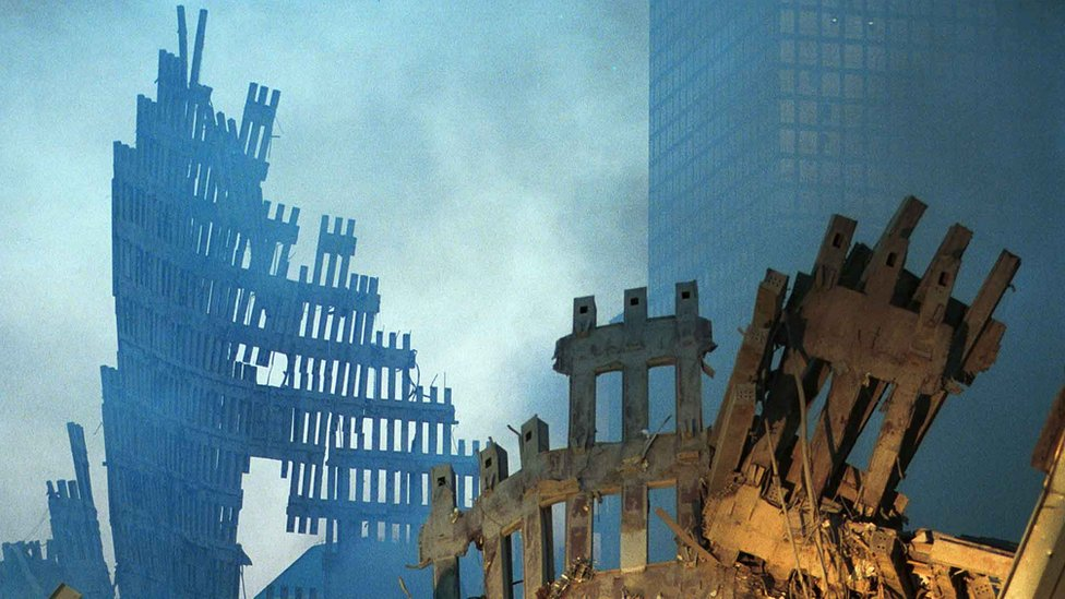 Ruins of the twin towers, two days after the attack.